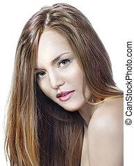 sensual, mujer, modelo, con, derecho, largo, pelo rubio