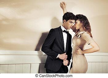 sensual, mujer, tentador, ella, novio