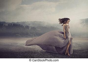 sensual, mulher caminhando, ligado, a, fantasia, chão
