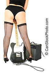 sensual, mulher, com, música