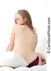 Sensual naked woman - Beauty close-up of young sensual naked...