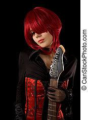 sensual, niña, con, guitarra