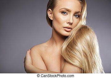 sensual, pelado, femininas, modelo, ligado, cinzento, fundo