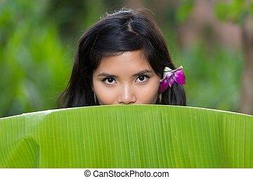 Sensual portrait of a young Vietnamese woman