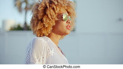 Sensual Portrait of Afro American Girl Looking at Sunset....