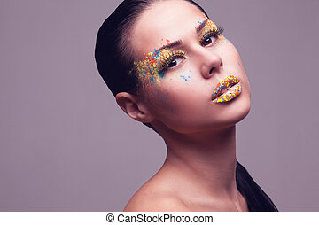 sensual portrait of girl with creative makeup