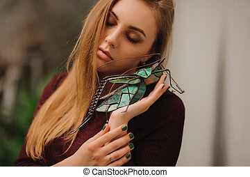 sensual portrait of woman with closed eyes