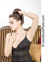 sensual, posar, elegante, mulher, sofá