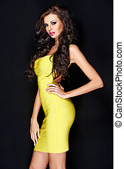 Sensual Pretty Long Hair Woman in Yellow Dress