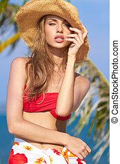 Sensual Pretty Woman in Summer Beach Outfit - Close up...