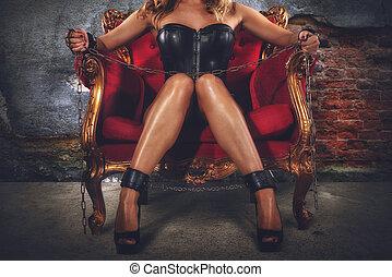sensual, provocación, de, un, sexy, bdsm, mujer, en, un,...