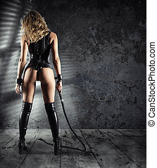 Sensual provocation of a sexy bdsm woman with whip - Sensual...