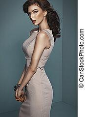 sensual, really, tentando, corpo mulher