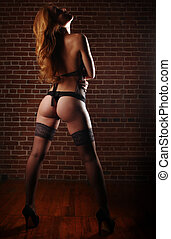 Red Head Woman Wearing Lingerie in Seductive Poses - Sensual...
