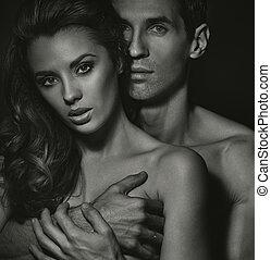 sensual, retrato, blac-white, pareja