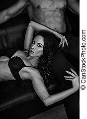 sensual, retrato, black&white, par
