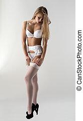 sensual, ropa interior, modelo, se endereza, medias