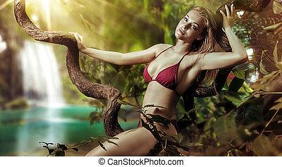 sensual, senhora, sentando, ligado, tropicais, árvore, ramo