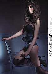 Sensual tall lady wearing sexy lingerie - Sensual tall woman...