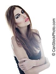 sensual very beautiful woman on white background