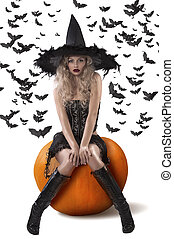 sensual witch dressed in black