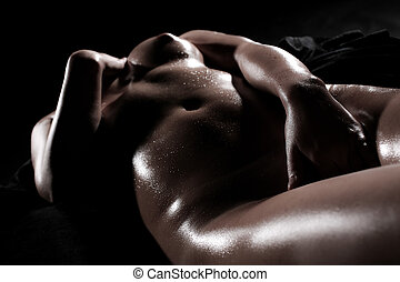 Sensual woman - Beautiful silhouette of nude sensual erotic...