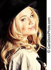 sensual woman - Elegant blonde woman wearing white shirt and...