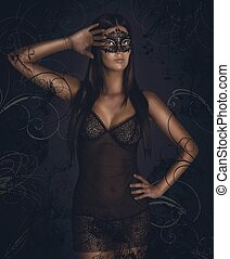 Sensual woman masquerade - Sensual woman in underwear with...