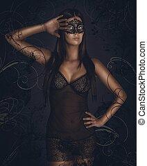Sensual woman masquerade - Sensual woman in underwear with...