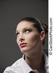 Sensual woman portrait, fashion model, close up