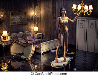 Sensual woman posing in the flooded apartment