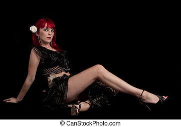 Sensual woman seated
