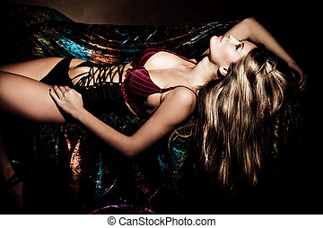 sensual woman - sensual blond woman in lingerie lie on bed,...