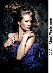sensual woman - sensual blond woman portrait, studio dark...