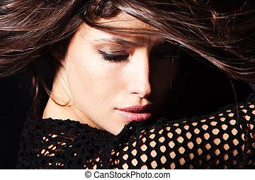 sensual woman - sensual brunette woman portrait in studio