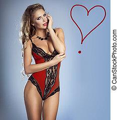 Sensual woman wearing lingerie.