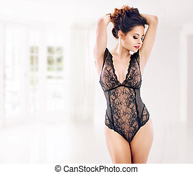 Sensual woman wearing the lace underwear