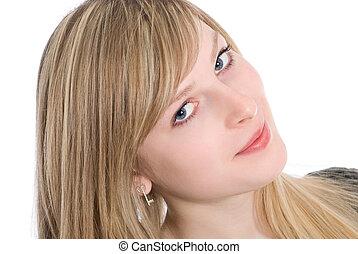 Sensual young blonde woman looking at camera studio shot