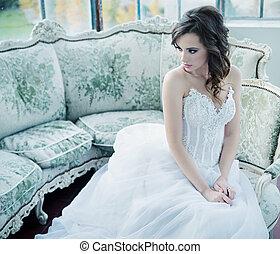 Sensual young bride after wedding reception