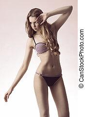 sensual young girl with bikini