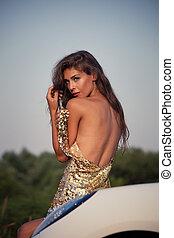 sensual young woman outdoor shot - sensual young woman in...