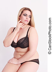 Sensual young woman with oversize i - Sensual Young blond...