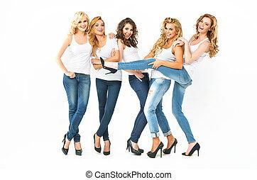 Sensual young women posing together