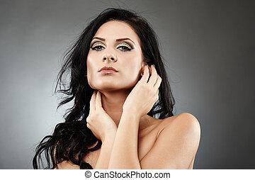 sensuale, brunetta, toccante, lei, faccia