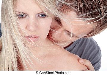 sensuale, coppia, riscaldare