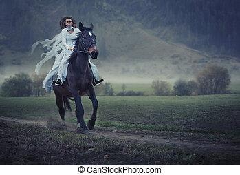 sensuale, giovane, bellezza, sentiero per cavalcate, uno, cavallo