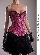 sensuale, giovane, in, viola, corsetto