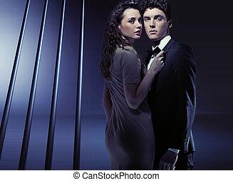 sensuale, holding donna, lei, ragazzo, molto, chiudere