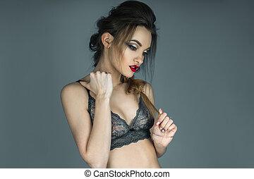sensuale, ritratto, di, bella ragazza, con, labbra rossi, in, bello, laccio