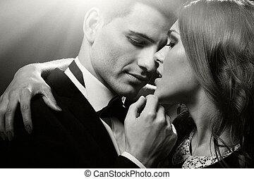 sensuale, ritratto, di, carino, coppia